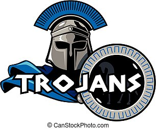 trojans mascot team design with helmet and shield for...