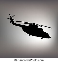 The black silhouette of a helicopter.