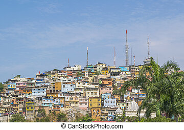 Low Angle View of Cerro Santa Ana in Guayaquil Ecuador - Low...