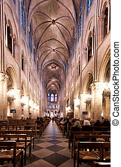 Notre Dame Cathedral Paris - Interior view of Notre Dame...