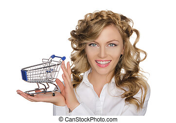 beautiful woman with trolley for shopping