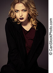 maroon lips - Attractive fashion girl with dark make-up...