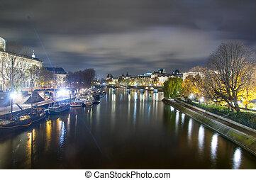 Seine,Paris,France - Nightview of Seine river in paris