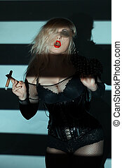 Vulgar blonde with a cigar. - Vulgar woman with red lips,...