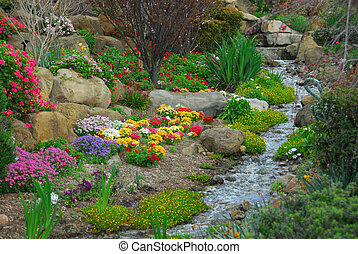 Rock Garden - A rock garden, complete with running stream...