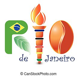 Rio, olympic, torch - Abstract Rio, vector, Brasilia, on the...