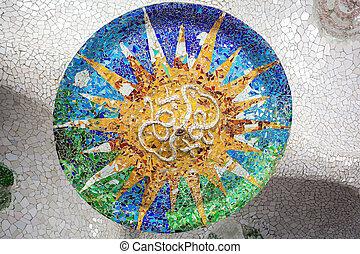 Barcelona, parque, Guell, de, Gaudi, mosaico, en, el, cien,...