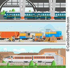Rail Transport Horizontal Flat Banners - Rail transport...
