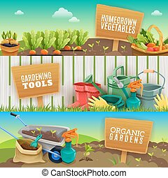 Three Gardening Horizontal Banners - Three colorful...