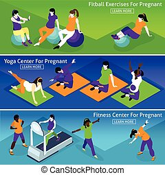 Pregnant Women Fitness Banners Set - Pregnant Women Fitness...