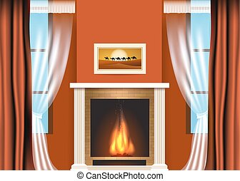 Classic living room interior with fireplace