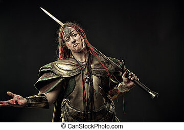 Apologetic mercenary - Brutal bloody woman warrior in armour...