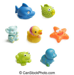 Bath toys - Seven colorful bath toys for child isolated on...