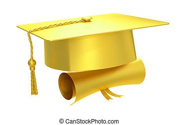 Golden graduation cap diploma, 3D rendering