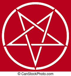 Pentagram on red background