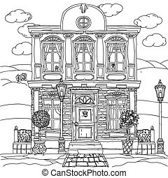 Black and white illustration of a house. Vector. - Contoured...
