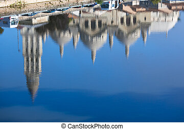 Saint Front cathedral in Perigord, France - Defocused Water...