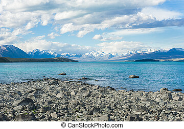 Lake Tekapo - Beautiful incredibly blue lake Tekapo with...