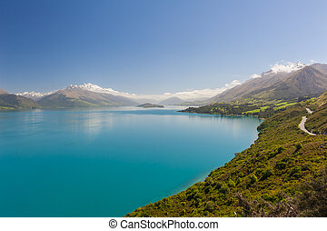 Lake Wakatipu - Beautiful blue lake Wakatipu with mighty...