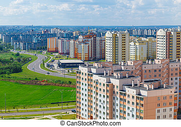 View of the residential district on the outskirts of the...