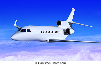 white jet - private white jet plane in the blue sky