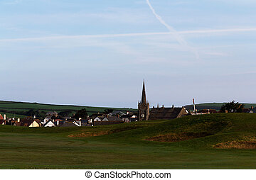View of a church in Bude from the golf course