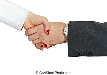 Hand shake of man and woman on white background - Hand shake...
