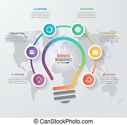 Vector idea light bulb circle infographic template for...