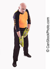 Trainer holding focus mitts - Martial arts trainer holding...