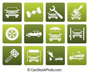 transportation icons - Flat auto service and transportation...