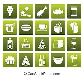 Flat Shop and Foods Icons - Vector Icon Set
