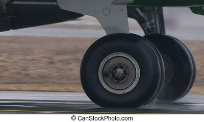 Airplane Wheel rotation, closeup, 2160p, UHD, 4k