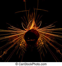 Sparks - Flowing sparks, abstract background