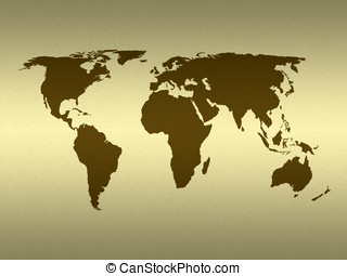Golden world - World map on simulated gold metal texture