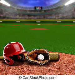 Baseball Stadium With Equipment and Copy Space - Baseball...