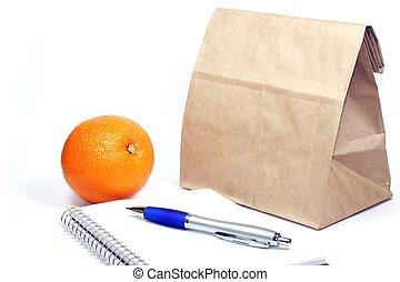 marrón, bolsa, almuerzo, reunión