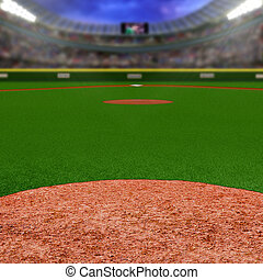 Baseball Stadium With Copy Space - Baseball stadium full of...