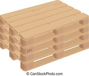 Wooden pallets isolated vector.