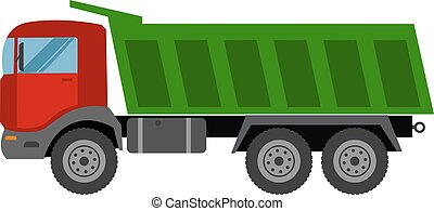 Tripper truck vector icon isolated Autotruck Building...