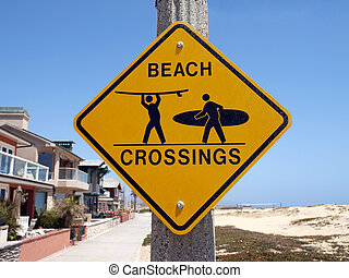 California Beach Crossing - Beach crossing warning sign...