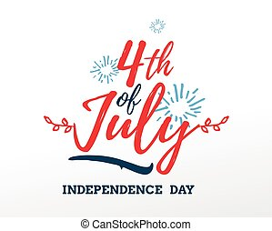 July fourth, United Stated independence day greeting. -...