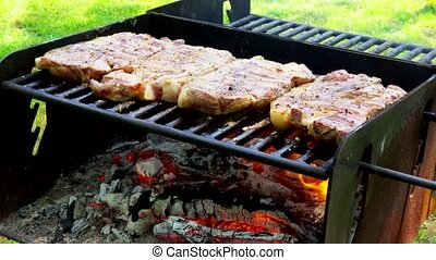 Juicy Stakes Cooking On Grill Barbeque Outdoors - meat...
