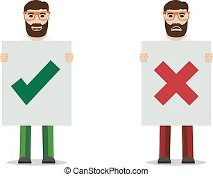 Man with placard - Man with glasses holding placard, vector...