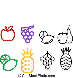 Fruit symbols - Set of fruit symbols isolated on white for...