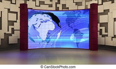 News TV Studio Set 159-Virtual Green Screen