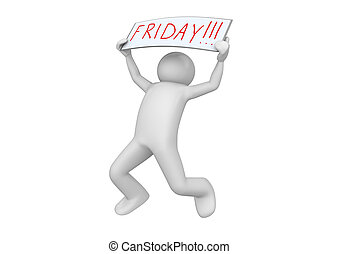 Business collection - Its FRIDAY - 3d characters isolated on...