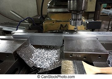 milling machine process - close up milling machine process...