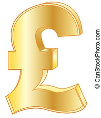 Sign pound sterling golden - Sign pound sterling from gild...