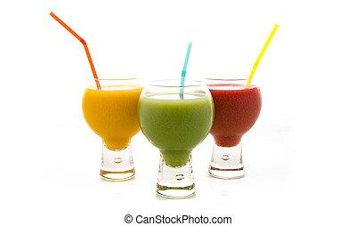 Fresh fruit juices isolated on white