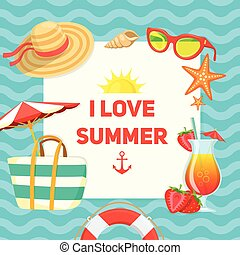 Sea shore and swimming accessories - Summer tropic vacation...